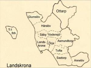 Karta över församlingarna inom Landskrona kommun och pastorat